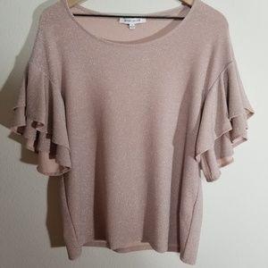 Rose + Olive light pink sparkle shirt